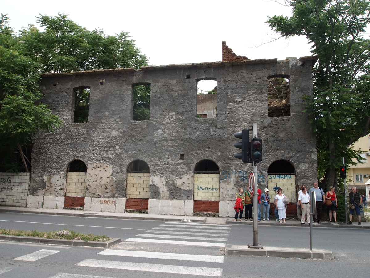 One of many bombed out buildings in Mostar