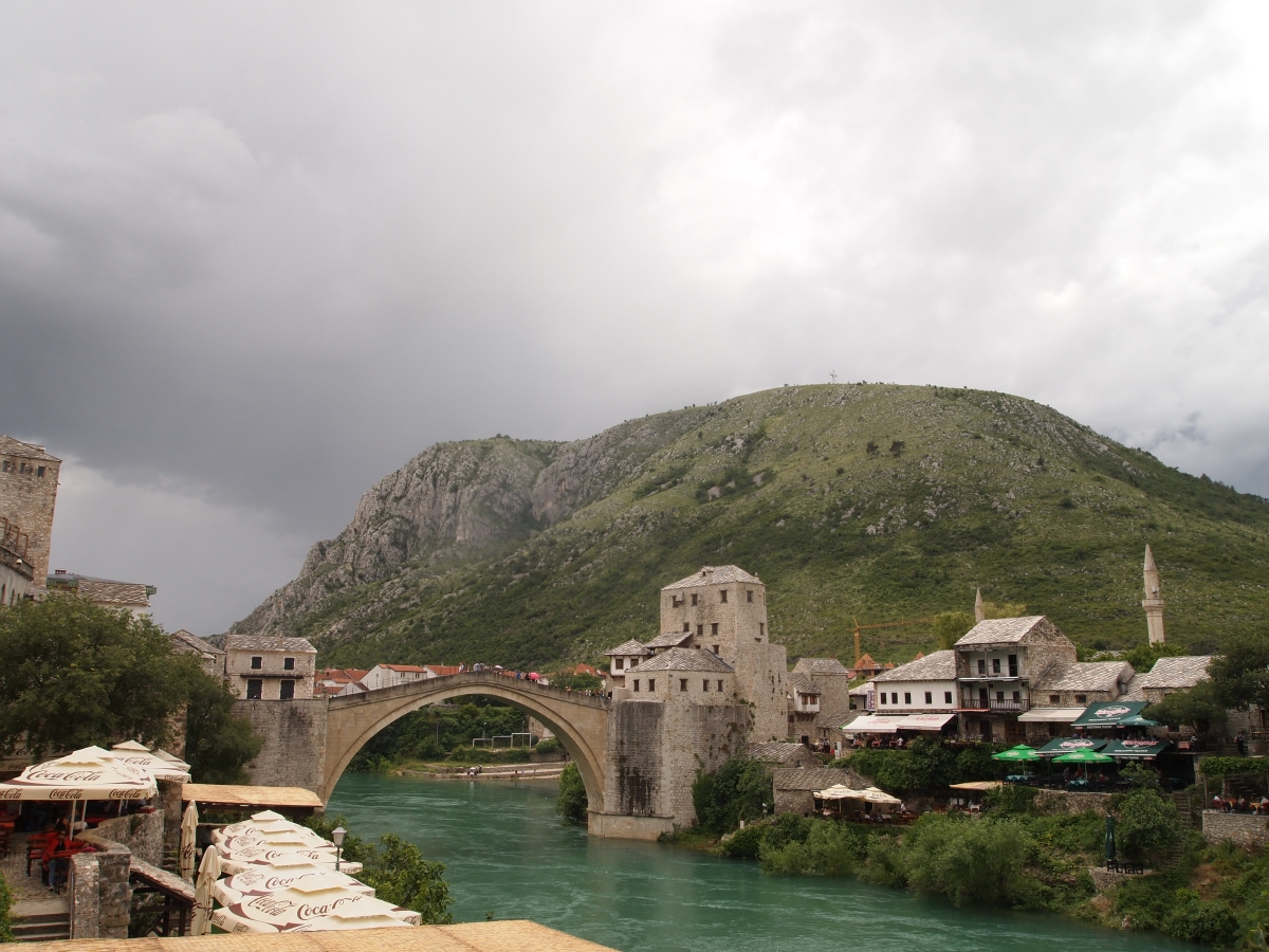 Mostar and Mount Hum, with its massive cross