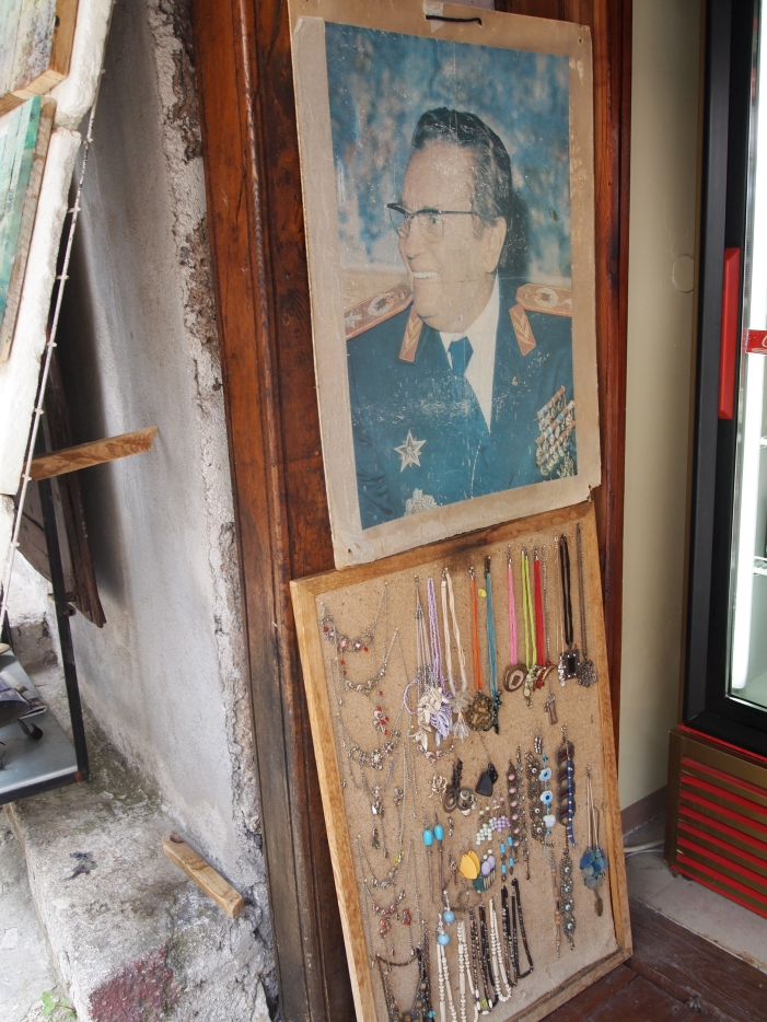 Portrait of Tito hanging in Mostar souvenir shop