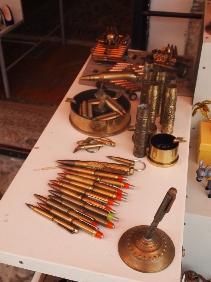 Souvenirs made of bullets and casings